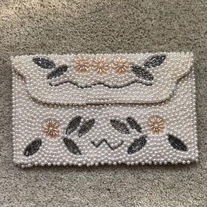 Vintage Pearl Beaded Wallet or mini Clutch